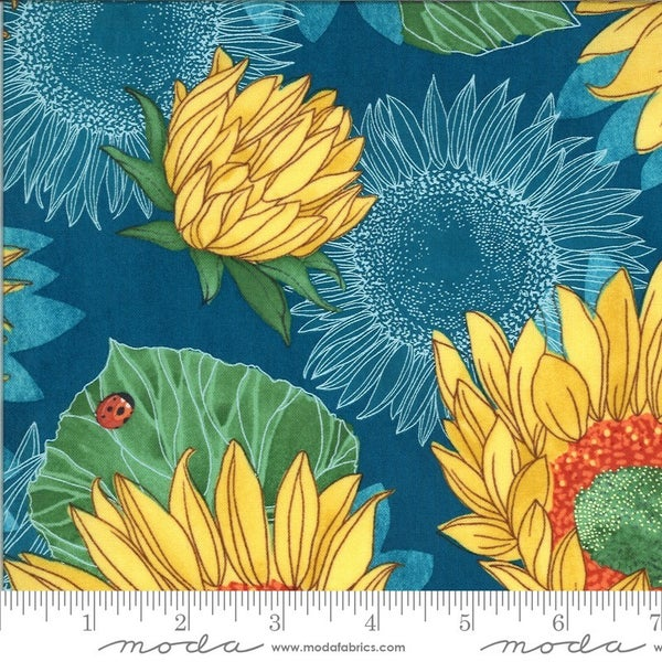 1 Yard Cut - Solana Collection Sunflowers in Horizon - Designed by Robin Pickens for MODA Fabrics