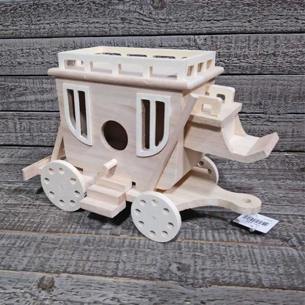 Unfinished Wood Birdhouse Carriage