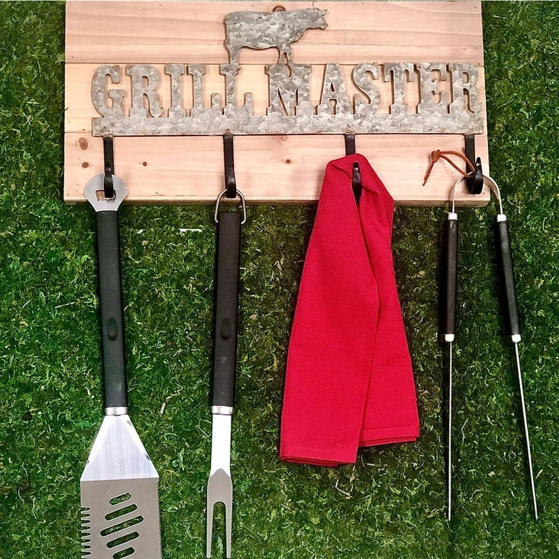 Grill Master Metal and Wood Sign