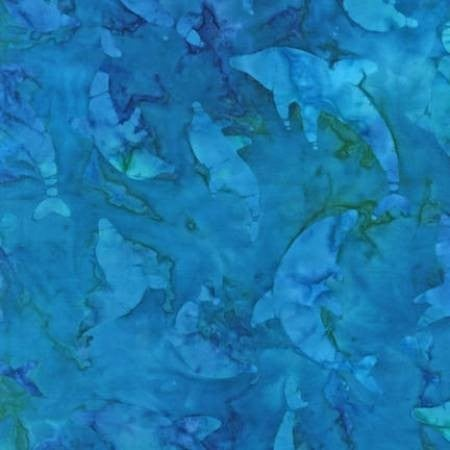 1 Yard Cut - Artisan Batiks Tropical Ocean Dolphins in Regatta Blue - Robert Kaufman Fabrics