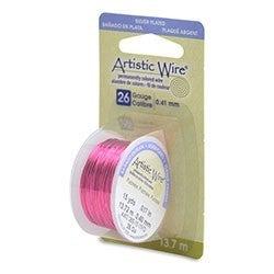 Artistic Wire- 26 Gauge Silver Plated Fuchsia, 15 yd