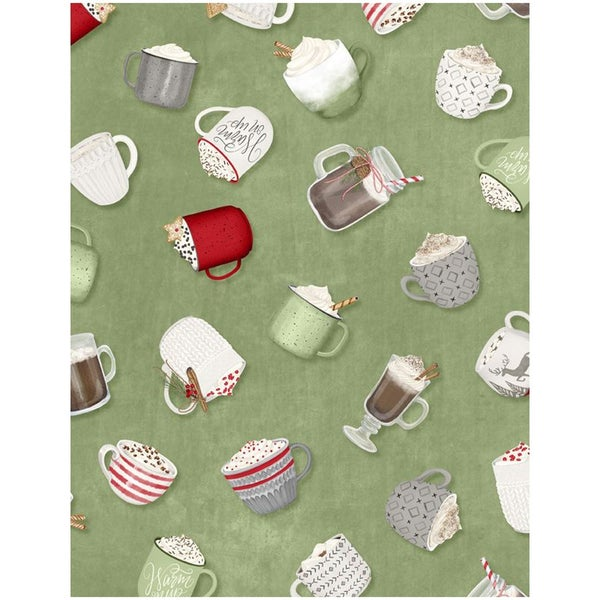 1 yard cut - Hot Cocoa Bar Tossed Cups - Green