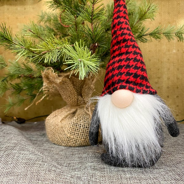 10 inch Plush Gnome- Buffalo Check Hat