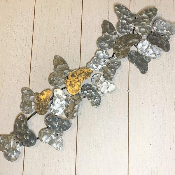 25x8 inch Metal Butterflies Wall Art