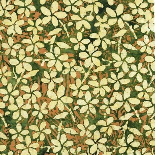 1 Yard Cut - Coco Cabana Batik Plumeria, Eucalyptus