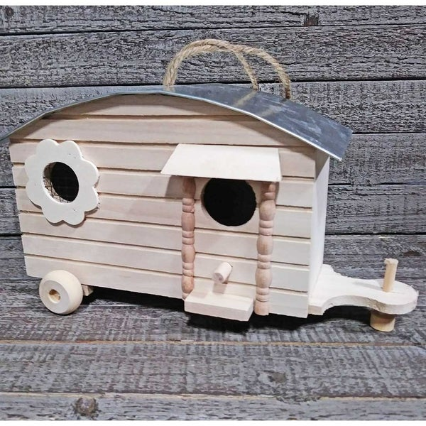 Unfinished Wood Birdhouse Trailer with Flower