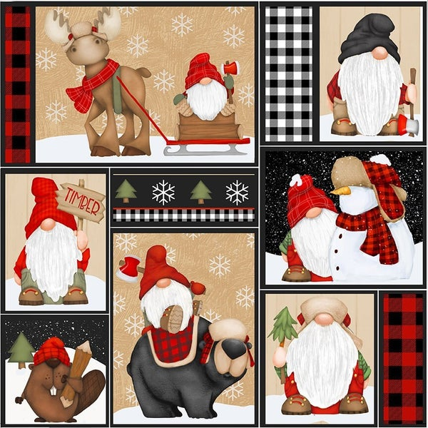 1 Yard Timber Gnomies Cotton Cut Fabric, Character Patchwork