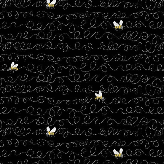 1 Yard Cut - Sunny Bee Buzzin' Bee on Black - Andover Fabrics