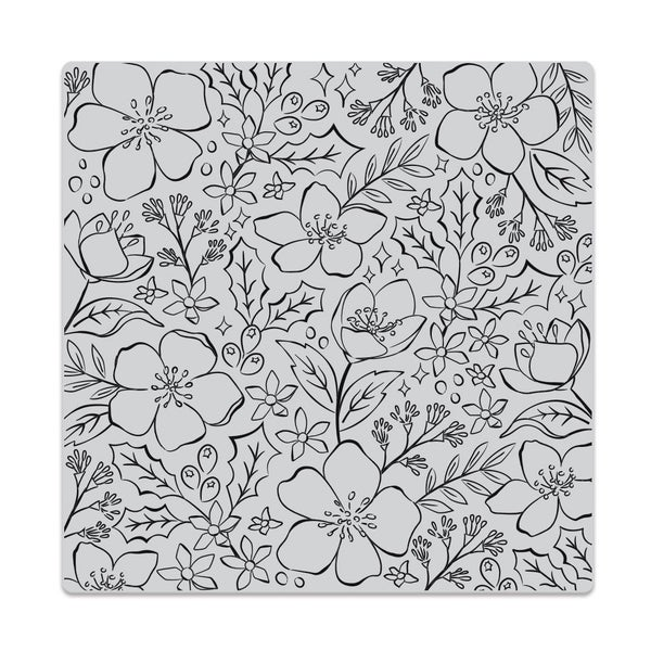 CHRISTMAS ROSE BOLD PRINT CLING RUBBER STAMP