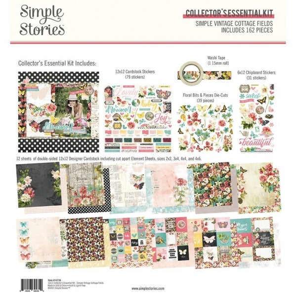 Simple Vintage Cottage Fields 12x12 Paper Collectors Essential Kit by Simple Stories
