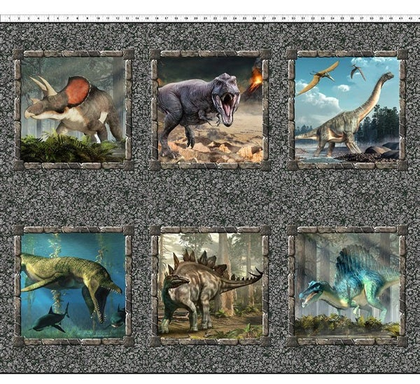 "PRE SELL Jurassic 6 Dinosaur Fabric Panel full color, 36"" x 44"""