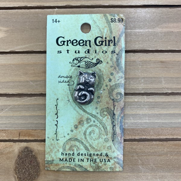Green Girl Studios Pewter Napping Cat Bead