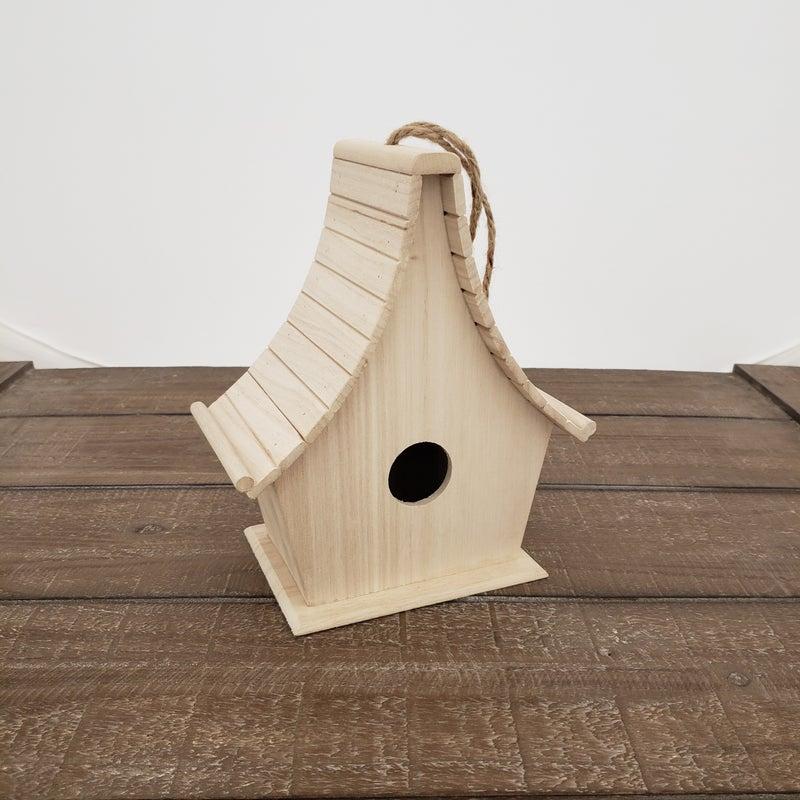 Unfinished Wood Log Birdhouse