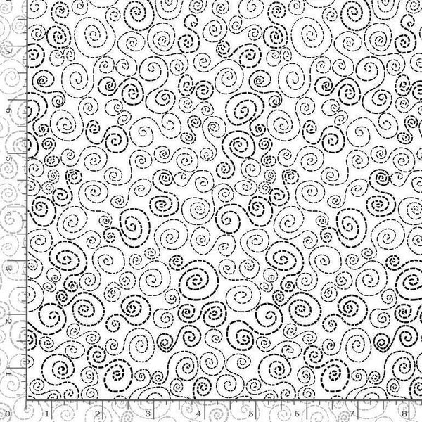 1 Yard Cut - You Make My Heart Happy Stitchey Swirls White Fabric - by Timeless Treasures Fabrics