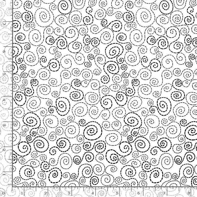 1 Yard Cut - You Make My Heart Happy Stitchey Swirls White Fabric - by Timeless Treasures Fabrics