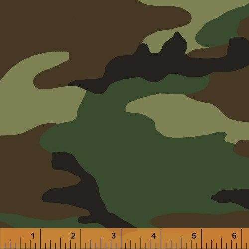 1 Yard Cut Fabric, Camo Army Green