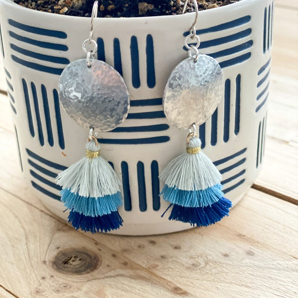Metal Stamping- Hammertone Earrings w/ Tassels