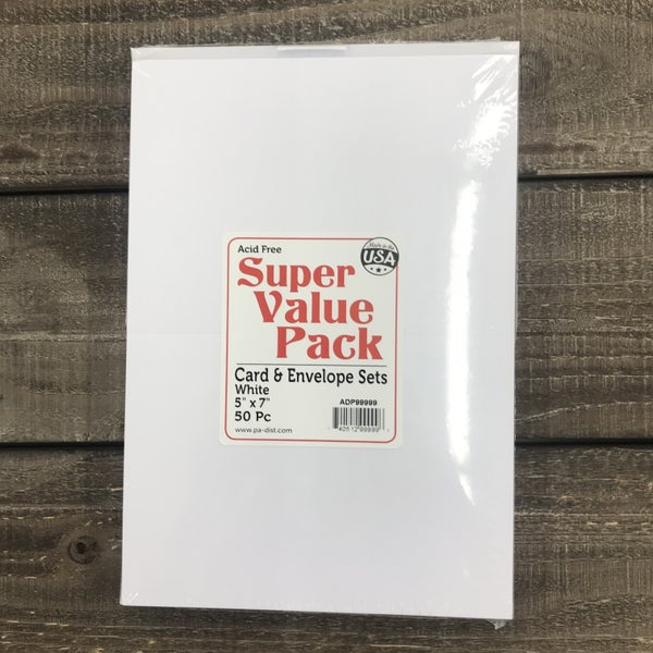 """Card and Envelope Value Pack, 50 Pieces, White, 5"""" x 7"""""""