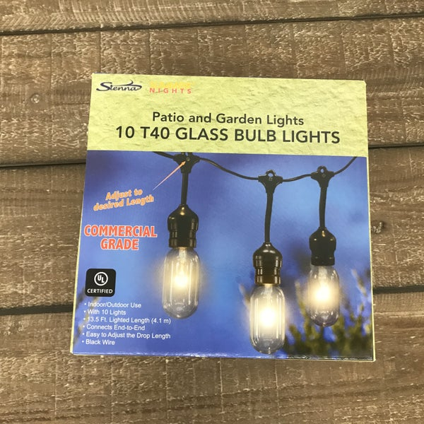 10 Light Glass Bulb Patio/Garden Set, 13.5' Long