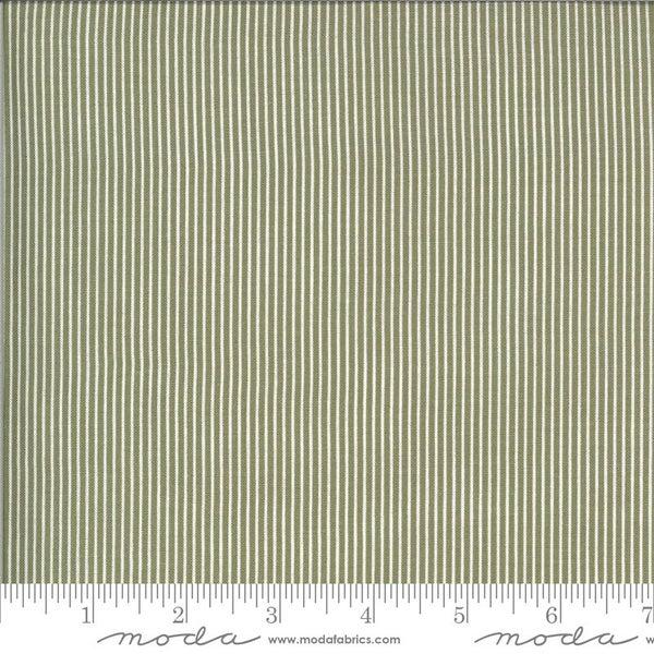 1 Yard Cut - Folktale Skinny Stripe Olive Green - MODA Fabrics