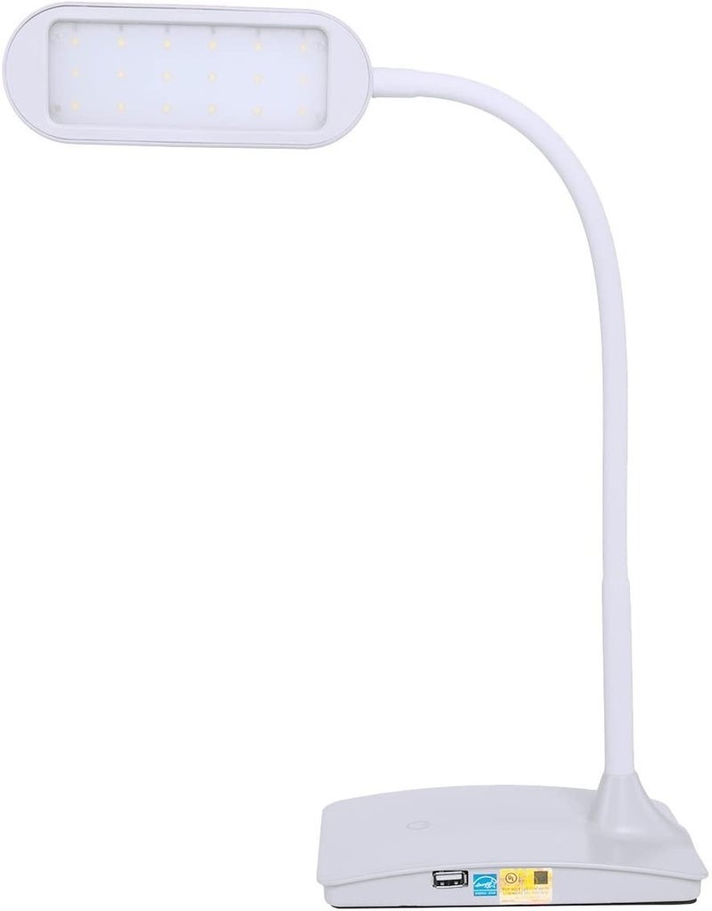 TW Lighting IVY-40BK The IVY LED Desk Lamp with USB Port, 3-Way Touch Switch, White