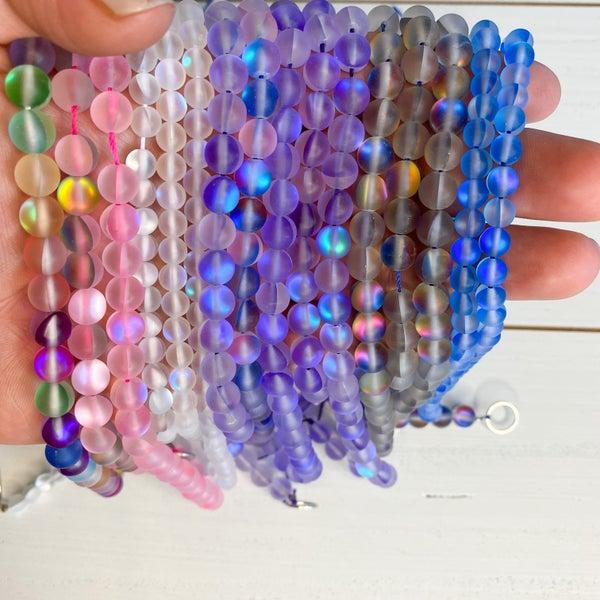 Mermaid Aura Glass Beads- 6mm Matte, 16 inch Strand (multiple options)