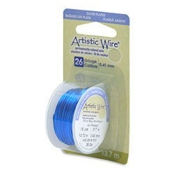 Artistic Wire- 26 Gauge Silver Plated, Silver Blue, 15 yd
