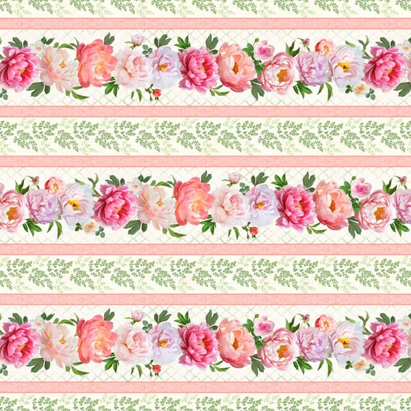 1 yard Cut - Flower Study Repeat Stripe - Wilmington Fabrics