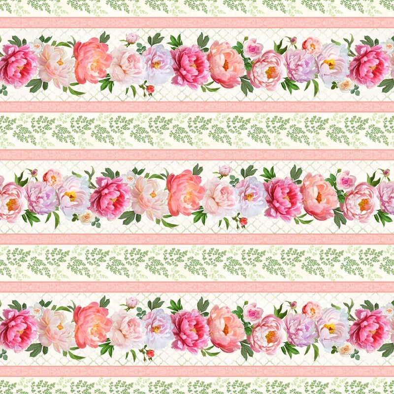 1 yard Cut - Flower Study Repeat Stripe - Wilmington Fabrics
