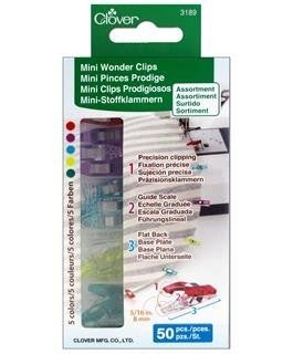 Clover Wonder Clips 50 Count Mini Clips - Assorted Colors