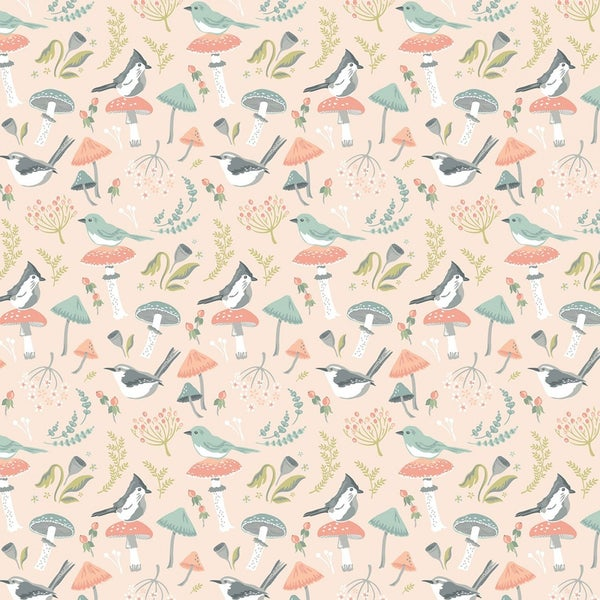 1 Yard Cut - Woodland Songbirds  and Mushrooms Toss on Peach