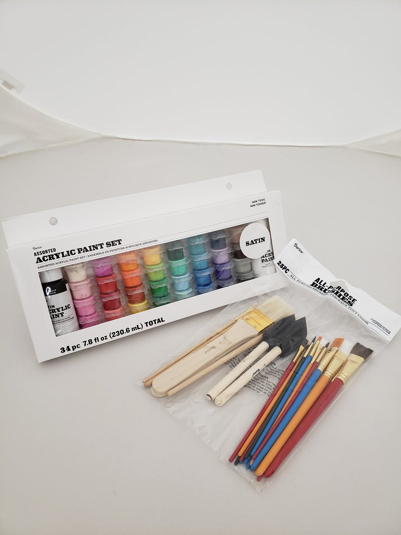 Satin 34ct Paint Pot Set with 25pc Brush Set Bundle