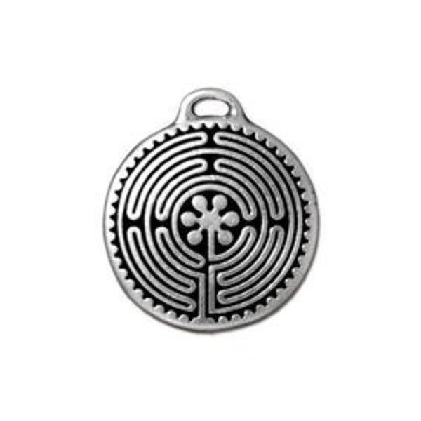 Labyrinth Pendant, Antiqued Silver- Tierra Cast