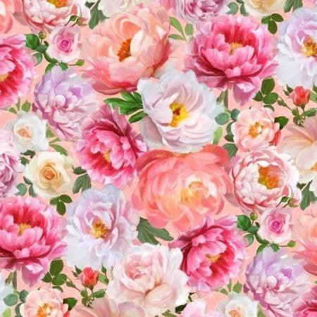 1 yard Cut - Flower Study Packed Floral Peach - Wilmington Fabrics