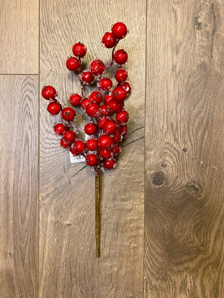 12 inch Red Iced Crabapple Pick