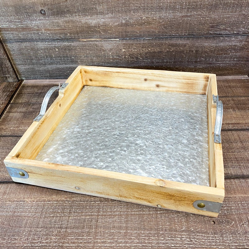 Square Tray with Metal Handle