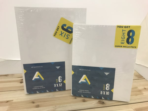 "6/Piece 9"" x 12"" and 8/Piece 8"" x 10"" Canvas Panel Bundle Pack"