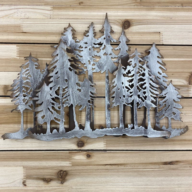 Trees with Second Overlay, Metal Wall Art, Home Decor