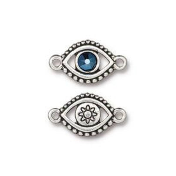 Evil Eye Link With Swarovski, Antiqued Silver Plate- Tierra Cast