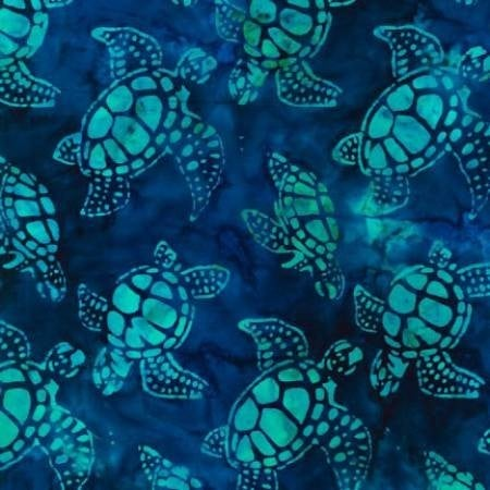 1 Yard Cut - Artisan Batiks Tropical Ocean Sea Turtles in Regatta Blue - Robert Kaufman Fabrics