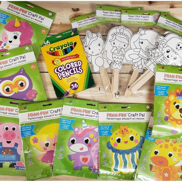 Kids Foam Characters & Coloring Puppets Bundle