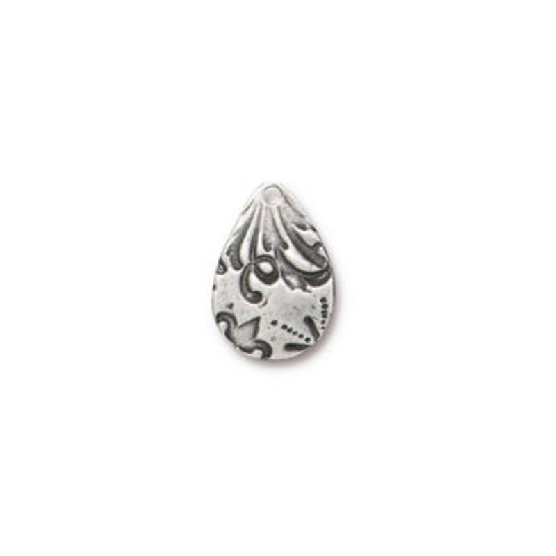 Flora Large Teardrop Charm, Antiqued Pewter- Tierra Cast