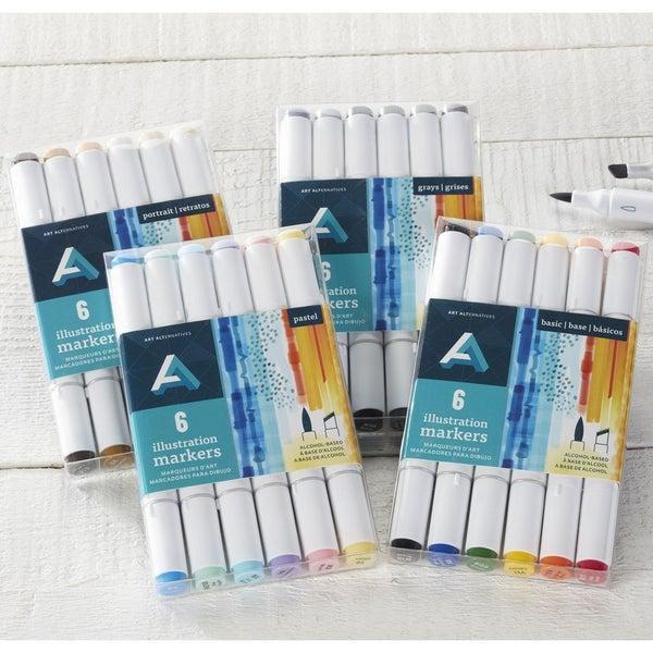 6-Marker Set Illustration Marker Sets (4 color sets)