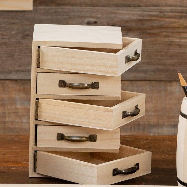 Unfinished Wood 5 Hinge Pivot Drawer