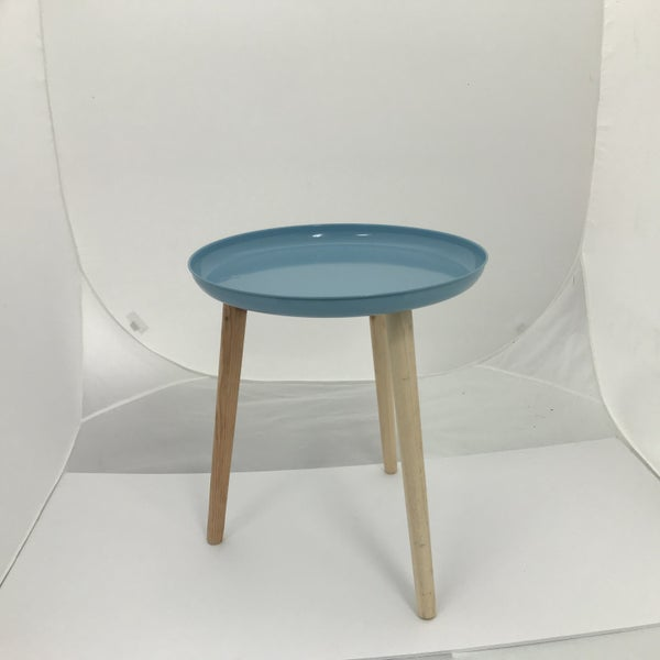 "Colorful Metal Tray With Dowel Legs, Blue, 18"" Tall"