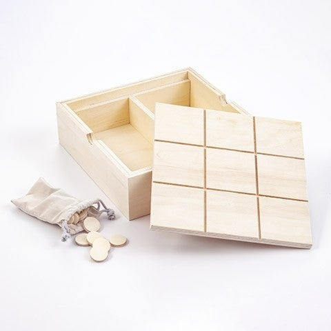 Unfinished Over Sized Tic Tac Toe & Checkers Wooden Game - Unfinished