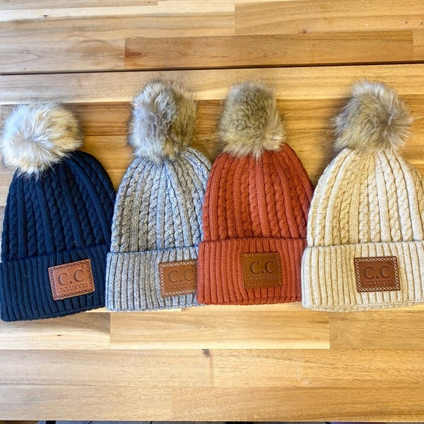 Double Braid w/ Pom-Pom C.C. Beanies (4 colors Available)
