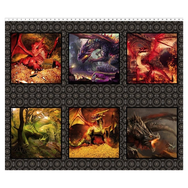Dragons Horizontal Fabric Panel - Red, 36 inches by 44 inches