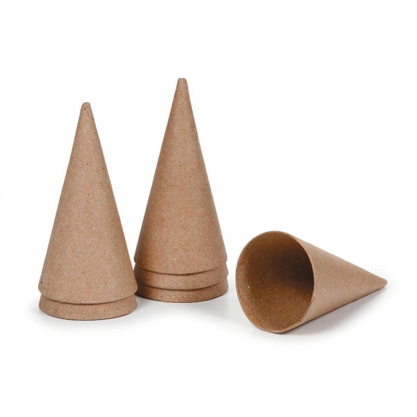 Paper Mache Open Bottom Cone - 4-inch x 2-inch - 6 Piece