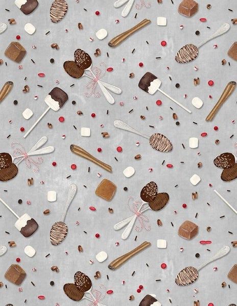 1 yard cut - Hot Cocoa Bar Tossed Spoons and Sprinkles - Gray